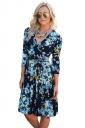 Women V Neck Tie Waist Floral Printed Long Sleeve Skater Dress Blue