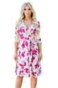 Women V Neck Tie Waist Floral Printed Long Sleeve Skater Dress Rose Red