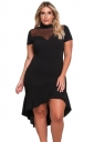 Women Plus Size Mesh Insert Ruffled High-Low Hem Curvy Dress Black
