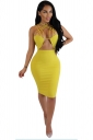 Women Sexy Strappy Cut-Out Club Wear Bodycon Dress Yellow