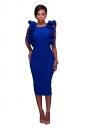 Women Sexy Ruffle Sleeveless Backless Slit Midi Dress Sapphire Blue