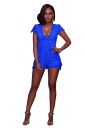 Women Sexy Deep V Neck Lace Hollow Out Romper Blue