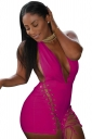 Women Sexy Deep V Halter Backless Lace Up Romper Rose Red