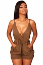Women Sexy Deep V Strap Backless Draw String Romper Brown