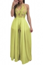 Women Sexy Halter Hight Waist Sheer Embroidered Jumpsuit Light Green