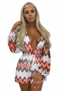 Women Sexy Deep V Neck Wave Stripes Printed Fishnet Romper Orange