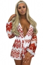 Women Sexy Deep V Neck Wave Stripes Printed Fishnet Romper Orange Red