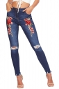 Women Fashion Rose Embroidered High Waist Ripped Long Jeans Blue