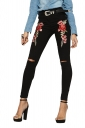 Women Fashion Rose Embroidered High Waist Ripped Long Jeans Black