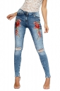Women Fashion Rose Embroidered High Waist Ripped Long Jeans Light Blue