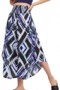 High Waist Asymmetrical Hem Geometry Printed Wide Legs Pants Blue