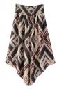 High Waist Asymmetrical Hem Geometry Printed Wide Legs Pants Brown