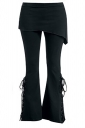 Women Side Lace Up Bell Bottom Leisure Pants Black