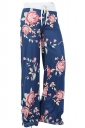 Women Casual Draw String Floral Printed Yoga Sports Wear Pants Blue
