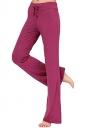 Women Plain Draw String Loose Yoga Sports Wear Leisure Pants Ruby