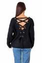 Women Sexy V Neck Cut-Out Back Lace Up Plain Sweater Black