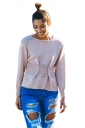 Women Casual Lace Up Long Sleeve Plain Loose Sweaters Pink