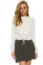 Women Sexy Off Shoulder Long Sleeve Lace Up Plain Sweater White