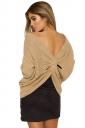 Women Sexy V Neck Twist Detail Long Sleeve Sweater Khaki