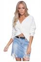Women Sexy V Neck Twist Detail Long Sleeve Sweater White