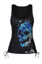 Women Halloween Butterfly Skull Print Scoop Neck Lace Up Tank Top Blue