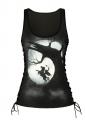 Women Halloween Sleepy Hollow Print Lace Up Scoop Neck Tank Top Black