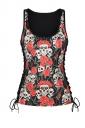 Women Halloween Skull Rose Print Lace Up Scoop Neck Tank Top Red