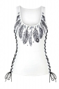 Women Halloween 3D Feather Print Lace Up Scoop Neck Tank Top White