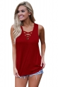 Women Sexy Cross V-Neck Lace-Up Sleeveless Tank Top Blue