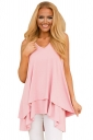 Women V-Neck High Low Ruffled Layer Asymmetric Hem Tank Top Pink