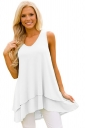 Women V-Neck High Low Ruffled Layer Asymmetric Hem Tank Top White