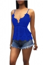 Women Sexy Adjustable Strap Lace Hollow Out Camisole Top Blue