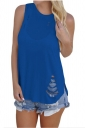 Women Casual Sleeveless Cut Out Tank Top Blue