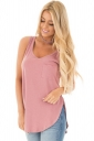 Women Side Slits Tank Top With Pocket Pink