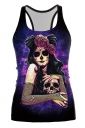 Dama De La Muerte Printed Halloween Tank Top Purple