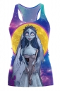 Emily The Corpse Bride Printed Halloween Tank Top Yellow