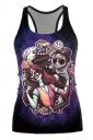 Day Of The Dead Jack Skellington Printed Halloween Tank Top Purple