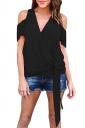 Women Casual Plain Cold Shoulder V Neck Bandage T-Shirt Black