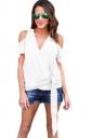 Women Casual Plain Cold Shoulder V Neck Bandage T-Shirt White