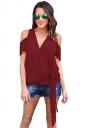 Women Casual Plain Cold Shoulder V Neck Bandage T-Shirt Ruby