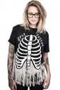 Women Halloween 3D Skeleton Stay Creepy Short Sleeve T-Shirt Black