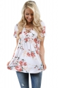 Women Deep V Lace Up Tunic Pleated Floral Printed T-Shirt White