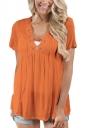 Women Deep V Lace Up Tunic Pleated Plain T-Shirt Light Orange