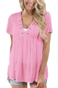 Women Deep V Lace Up Tunic Pleated Plain T-Shirt Light Pink