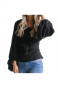 Women Crew Neck Cross Bandage Puff Sleeve Blouse Black