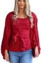 Women Crew Neck Cross Bandage Puff Sleeve Blouse Red