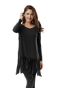 Women Plain Fringe Hem Long Sleeve Loose T-Shirt Black