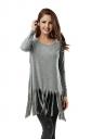 Women Plain Fringe Hem Long Sleeve Loose T-Shirt Light Gray