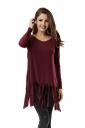 Women Plain Fringe Hem Long Sleeve Loose T-Shirt Ruby