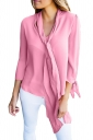 Pink Bow-Tie Sleeved Blouse With Necktie
